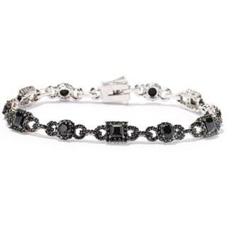 Black Rhodium-plated Sterling Silver Black Spinel Alternating Link Bracelet