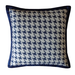 Jiti Blue Houndstooth Cotton Pillow