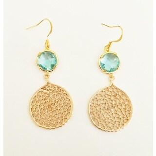 Pretty Little Style Goldtone Turquoise Dangle Earrings