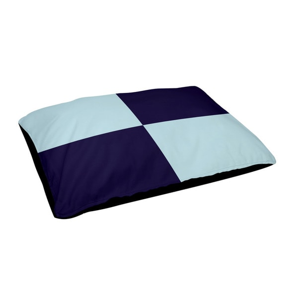 28 x 48-inch Spring Navy/ Omar Large Check Print Outdoor Dog Bed