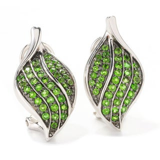 Sterling Silver Chrome Diopside Leaf Earrings