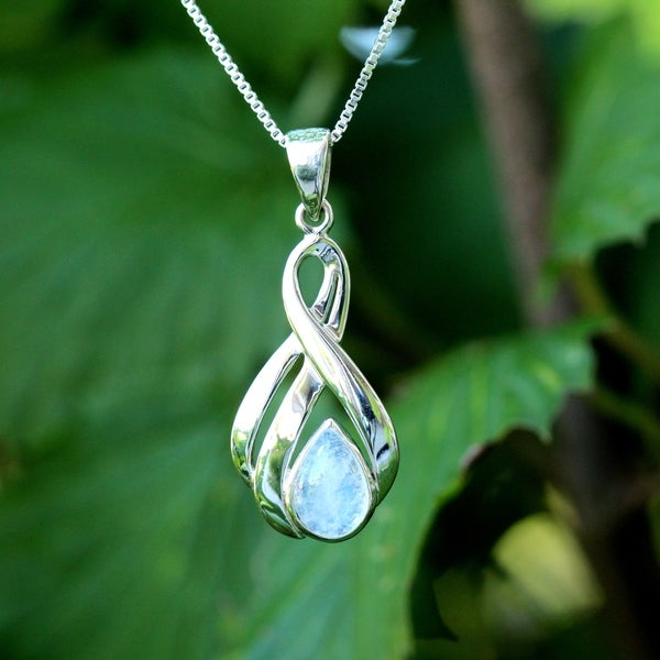 Sterling Silver Pear Drop Moonstone Necklace (Thailand)