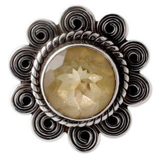 Handcrafted Sterling Silver 'Indian Sun' Citrine Cocktail Ring (India)