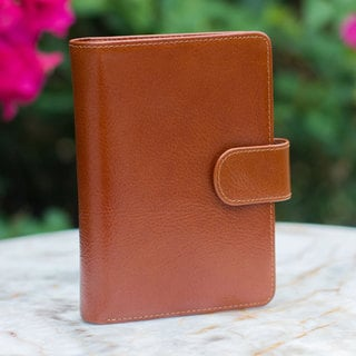 Handcrafted Leather 'Honey Brown Voyages' Passport Holder (Thailand)