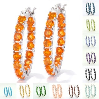 Sterling Silver Fire Opal Inside-out Oval Hoop Earrings