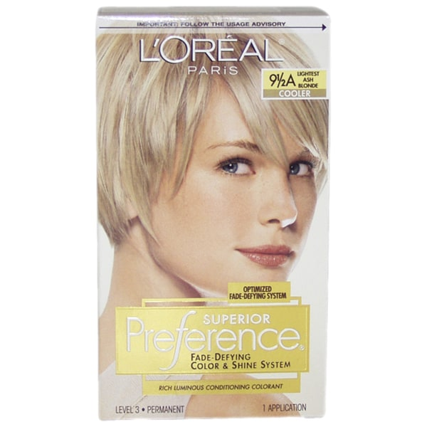 L'Oreal Paris Superior Preference Fade-Defying Color #9.5A Lightest Ash Blonde Cooler