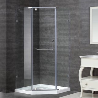 38 x 38 SEN973 Semi-Frameless Shower Enclosure in Stainless Steel with Base
