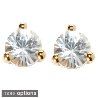 18k Yellow Vermeil or Platinum Over Sterling Silver White Zircon Martini Stud Earrings