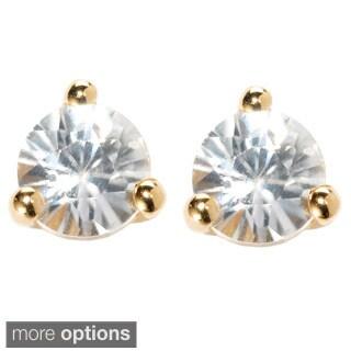 18k Yellow Vermeil or Platinum Over Sterling Silver White Zircon Martini Stud Earrings
