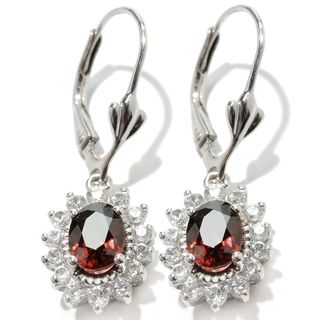 Sterling Silver 1.25-inch Colored and White Zircon Halo Leverback Earrings