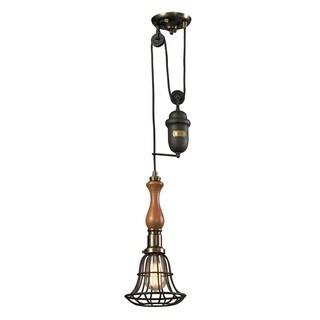Elk Lighting Spun Wood Single-light Vintage Rust Pull Down Pendant