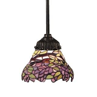 Elk Lighting Mix-N-Match Multicolored Glass 1-light Tiffany Bronze Pendant