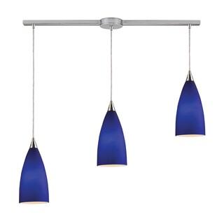 Elk Lighting Vesta 3-light Royal Blue/ Satin Nickel Linear Pendant
