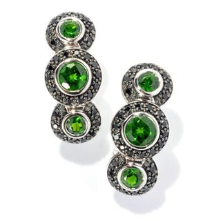 Sterling Silver Chrome Diopside and Black Spinel Drop Earrings