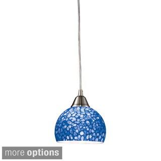 Sira Satin Nickel and Pebbled Glass 1-light Pendant
