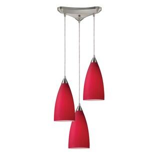 Elk Lighting Vesta 3-light Cardinal Red/ Satin Nickel Pendant