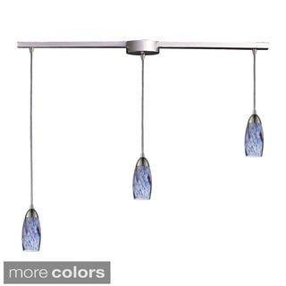 Elk Lighting Milan 3-light Satin Nickel and Starlight Blue Glass Pendant