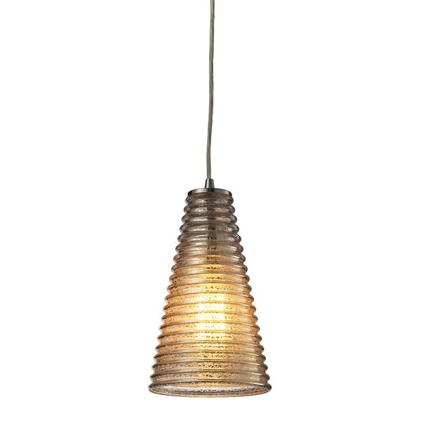 Elk Lighting Ribbed Glass Single-light Satin Nickel Mini Pendant 14052584