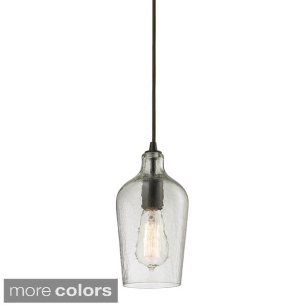 Elk Lighting Hammered Glass Oil Rubbed Bronze Single Light Mini Pendant 166