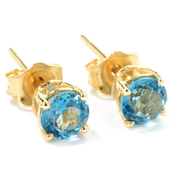 14k Yellow Gold Petite 4mm London Blue Topaz Stud Earrings