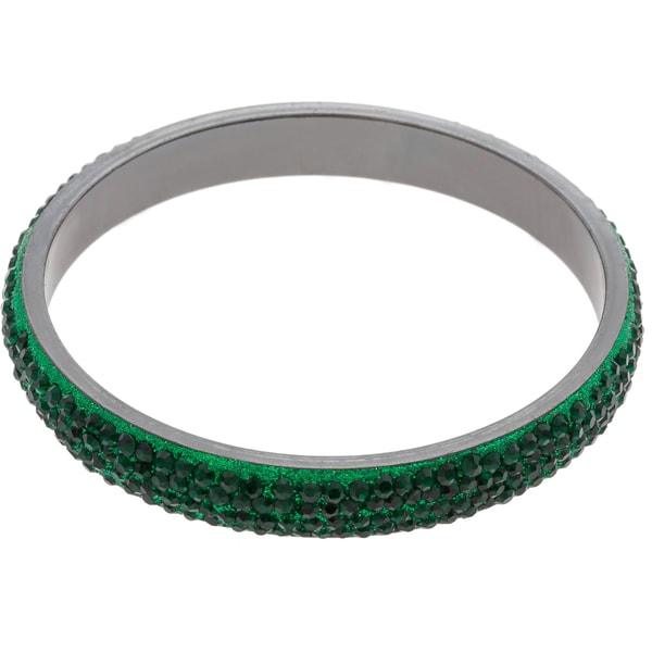 ABS Pave-set Green Crystal Bangle Bracelet