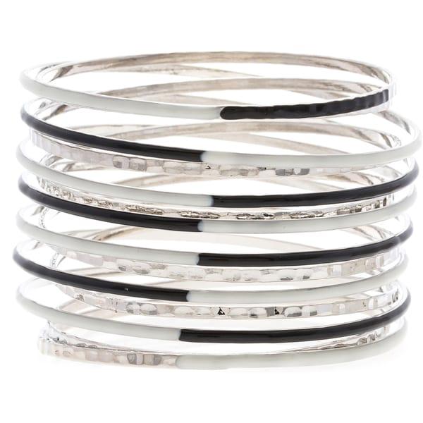 ABS Black and White Coil Bangle Bracelet
