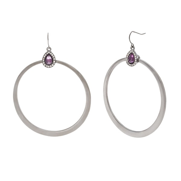 ABS Large Purple/ White Crystal Hoop Earrings