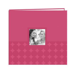 Pioneer Postbound Circles Embossed Pink Leatherette Memory Book (12x12)