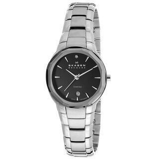 Skagen Women's 822SSXB 'Black Label' Stainless Steel Diamond Watch