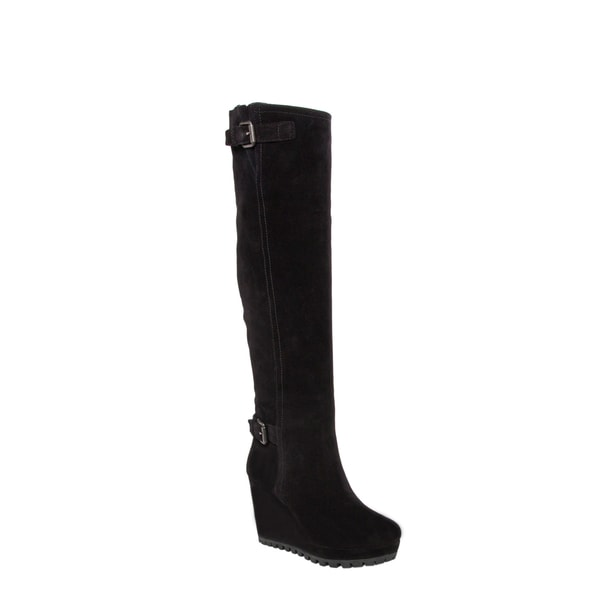 Prada Women's Black Suede Zip-up Wedge Boots
