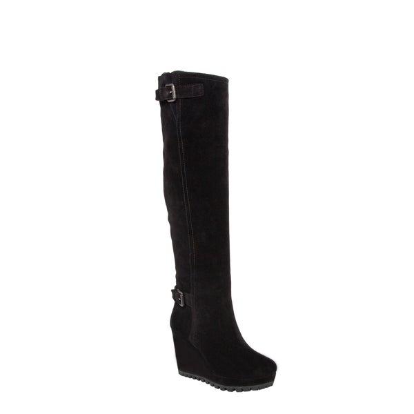 Prada Women's Black Suede Zip-up Wedge Boots