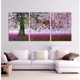 Hand-painted 'Tree of Wishes' 3-piece Gallery-wrapped Canvas Art Set
