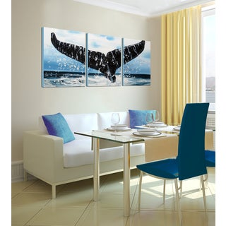 Hand-painted 'Pacific Ocean - Whale Tail' 3-piece Gallery-wrapped Canvas Art Set