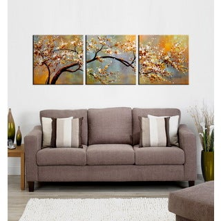 Hand-painted 'Plum bloosom591' 3-piece Gallery-wrapped Canvas Art Set