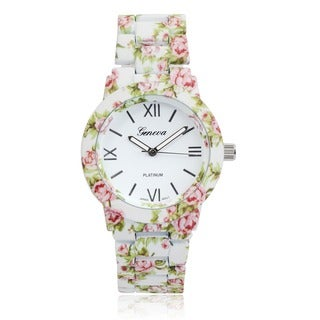 Geneva Platinum Women's Floral Print Link Watch