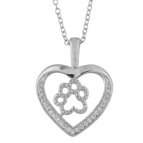Fremada Rhodium-plated Sterling Silver and Cubic Zirconia Paw in Heart Pendant Necklace (18 inch)