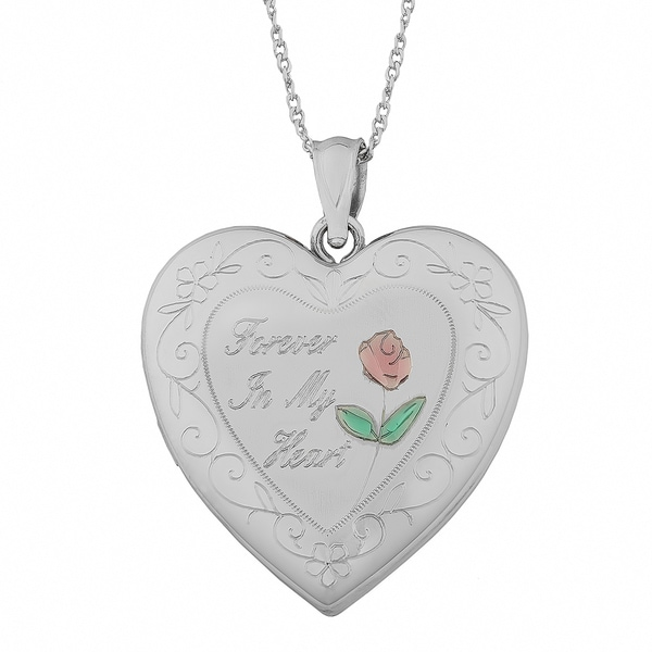 "Fremada Sterling Silver ""Forever In My Heart"" Locket On Twisted Curb Chain Necklace (18 inch)"