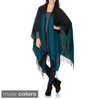 La Cera Women's Two-tone Fringe Shawl Wrap