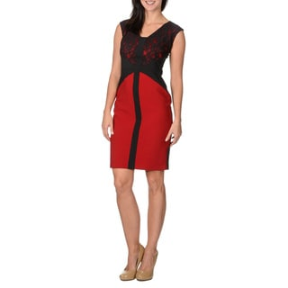 London Times Women's Black and Red Sleeveless Lace-top Dress