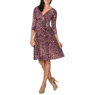 London Times Women's Magenta Abstract Print Dress