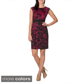 London Times Women's Floral Lace Print Sleeveless Dress