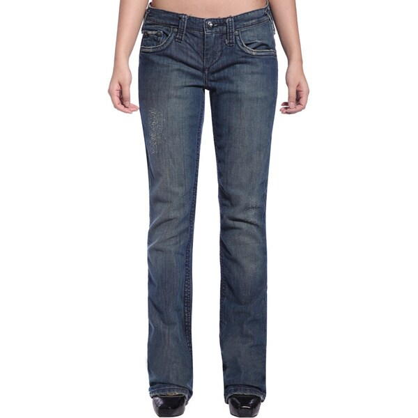 Stitch's Women's Worn-out Denim Straight Leg Jeans