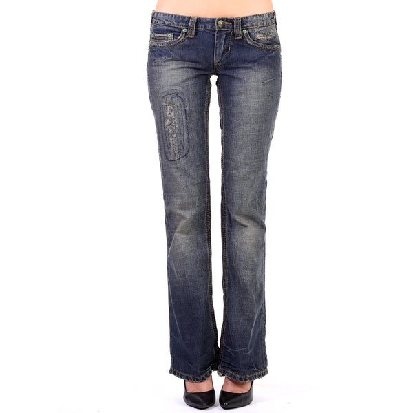 Stitch's Womens Blue Patched Denim Curvy Bootcut Jeans