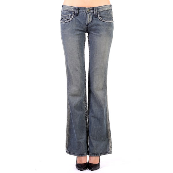Stitch's Women's Blue Tailored Denim Boot-cut Jeans