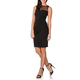 London Times Women's Black Mesh Yoke Sleeveless Dress