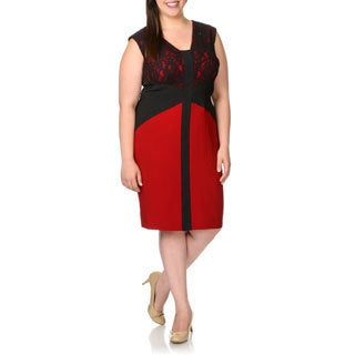 London Times Women's Plus Size Black and Red Sleeveless Lace-top Dress