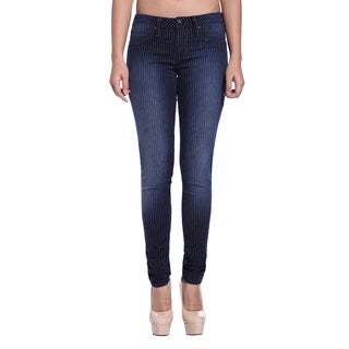Stitch's Women's Blue Pinstriped Skinny Jeans
