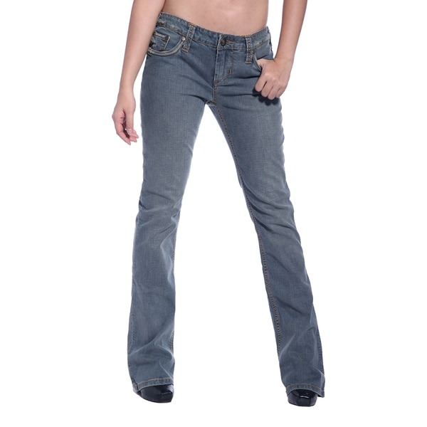 Stitch's Womens Worn-out Blue Denim Boot Cut Jeans