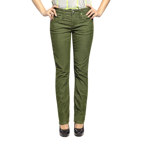 Stitch's Women's Green Comfort Cord Straight-leg Jeans