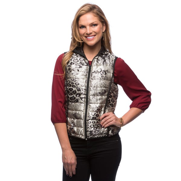 Live A Little Women's Silver Reversible Puffy Vest